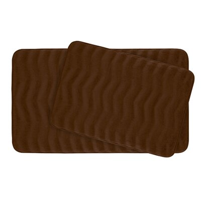 Waves Large Premium Micro Plush Memory Foam Bath Mat Set Color: Chocolate