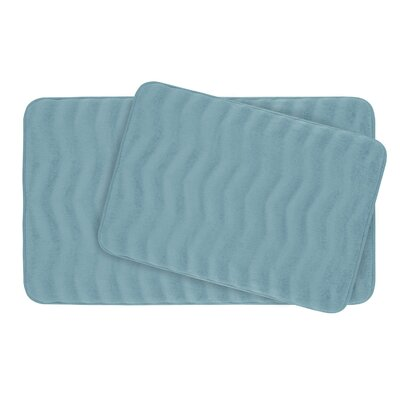 Waves Large 2 Piece Premium Micro Plush Memory Foam Bath Mat Set Color: Light Blue