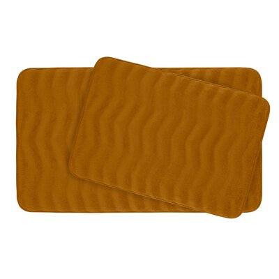 Waves Large 2 Piece Premium Micro Plush Memory Foam Bath Mat Set Color: Orange