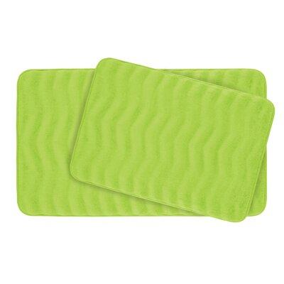 Waves Large Premium Micro Plush Memory Foam Bath Mat Set Color: Lime