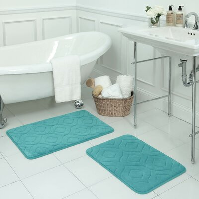 Naoli Large 2 Piece Micro Plush Memory Foam Bath Mat Set Color: Turquoise