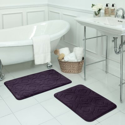 Naoli Large 2 Piece Micro Plush Memory Foam Bath Mat Set Color: Plum