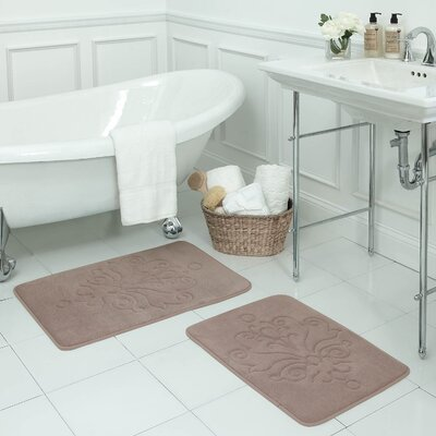 Reve 2 Piece Micro Plush Memory Foam Bath Mat Set Color: Linen