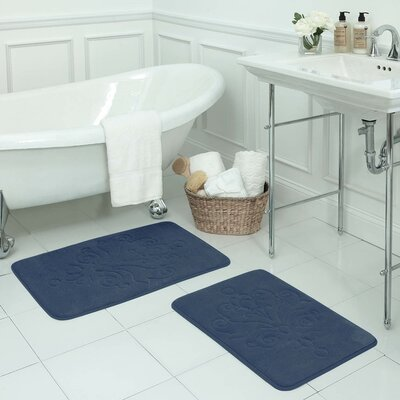 Reve 2 Piece Micro Plush Memory Foam Bath Mat Set Color: Dusty Blue