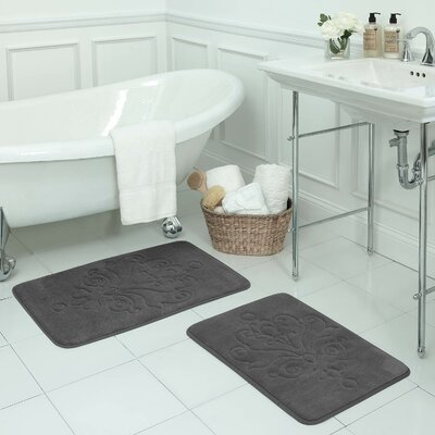 Reve 2 Piece Micro Plush Memory Foam Bath Mat Set Color: Dark Grey