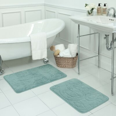 Pelton 2 Piece Micro Plush Memory Foam Bath Mat Set Color: Aqua