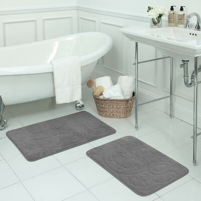 Pelton 2 Piece Micro Plush Memory Foam Bath Mat Set Color: Light Grey