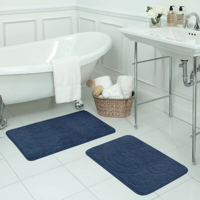 Pelton 2 Piece Micro Plush Memory Foam Bath Mat Set Color: Dusty Blue