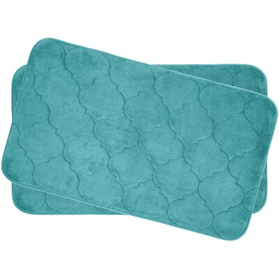 Faymore Small Plush Memory Foam Bath Mat Set Color: Turquoise
