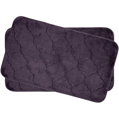 Faymore Small Plush Memory Foam Bath Mat Set Color: Plum