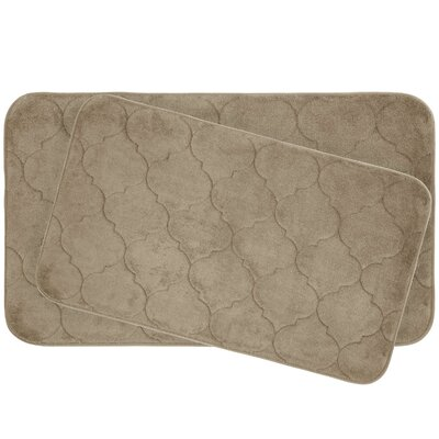 Faymore 2 Piece Plush Memory Foam Bath Mat Set Color: Linen