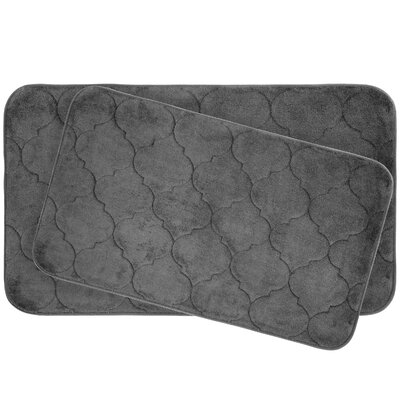 Faymore 2 Piece Plush Memory Foam Bath Mat Set Color: Dark Grey