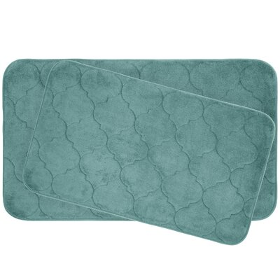Faymore 2 Piece Plush Memory Foam Bath Mat Set Color: Blue