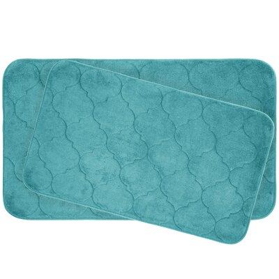 Faymore 2 Piece Plush Memory Foam Bath Mat Set Color: Turquoise