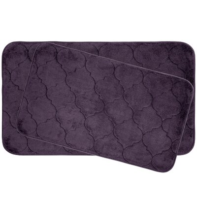 Faymore 2 Piece Plush Memory Foam Bath Mat Set Color: Plum