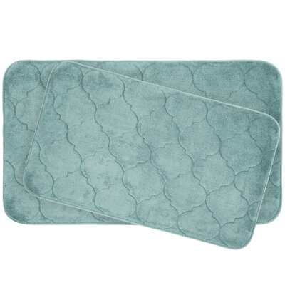 Faymore 2 Piece Plush Memory Foam Bath Mat Set Color: Aqua
