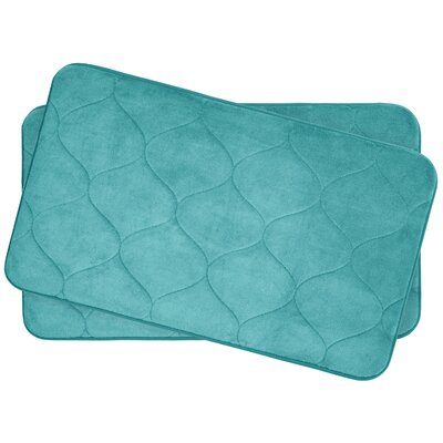 Leander Small 2 Piece Plush Memory Foam Bath Mat Set Color: Turquoise