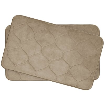 Leander Small 2 Piece Plush Memory Foam Bath Mat Set Color: Linen