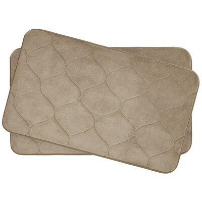 Leander Small 2 Piece Plush Memory Foam Bath Mat Set Color: Linen