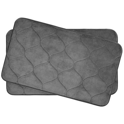 Leander Small 2 Piece Plush Memory Foam Bath Mat Set Color: Dark Grey