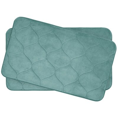 Leander Small 2 Piece Plush Memory Foam Bath Mat Set Color: Blue