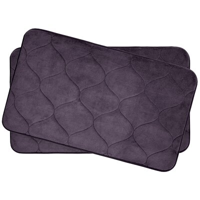Leander Small 2 Piece Plush Memory Foam Bath Mat Set Color: Plum