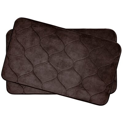Leander Small 2 Piece Plush Memory Foam Bath Mat Set Color: Espresso