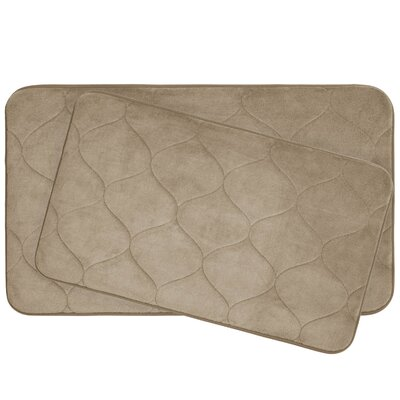 Leander 2 Piece Plush Memory Foam Bath Mat Set Color: Linen