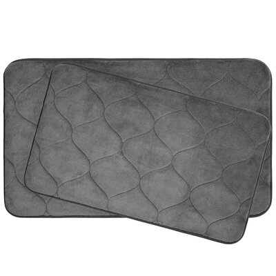 Leander 2 Piece Plush Memory Foam Bath Mat Set Color: Dark Grey