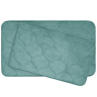 Leander 2 Piece Plush Memory Foam Bath Mat Set Color: Marine Blue