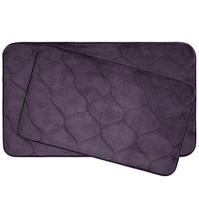 Leander 2 Piece Plush Memory Foam Bath Mat Set Color: Plum