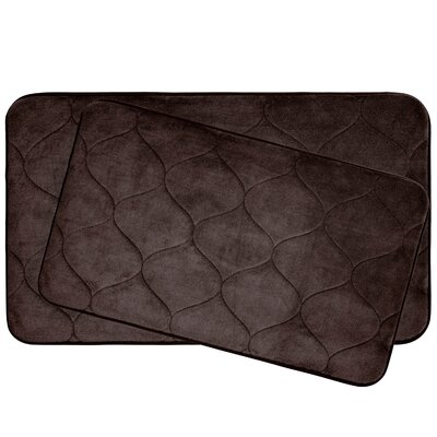 Leander 2 Piece Plush Memory Foam Bath Mat Set Color: Espresso