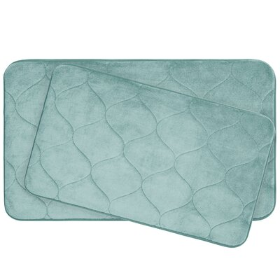 Leander 2 Piece Plush Memory Foam Bath Mat Set Color: Aqua
