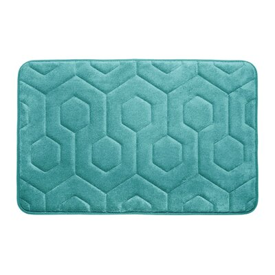 Hexagon Micro Plush Memory Foam Bath Mat Color: Turquoise