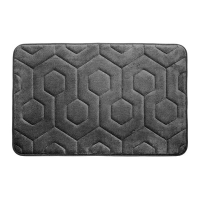 Hexagon Micro Plush Memory Foam Bath Mat Color: Dark Grey