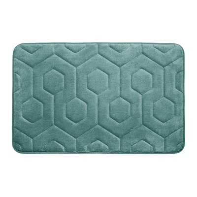 Hexagon Micro Plush Memory Foam Bath Mat Color: Marine Blue