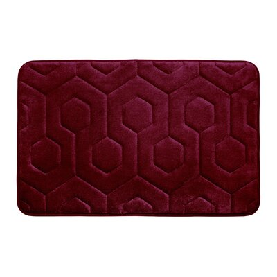 Hexagon Micro Plush Memory Foam Bath Mat Color: Barn Red