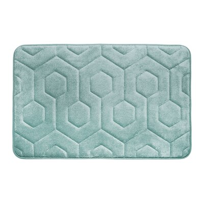 Hexagon Micro Plush Memory Foam Bath Mat Color: Aqua