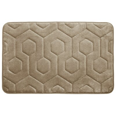 Hexagon Micro Plush Memory Foam Bath Mat Color: Linen