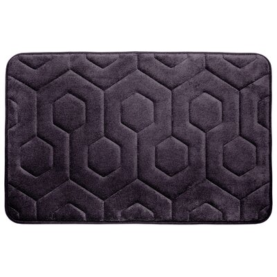 Hexagon Micro Plush Memory Foam Bath Mat Color: Plum