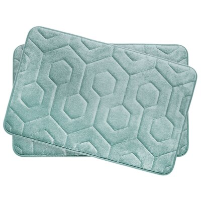 Hexagon Small Plush Memory Foam Bath Mat Color: Aqua