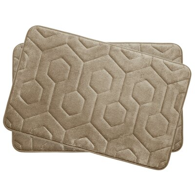 Hexagon Small Plush Memory Foam Bath Mat Color: Linen