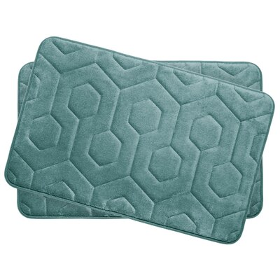 Hexagon Small Plush Memory Foam Bath Mat Color: Marine Blue
