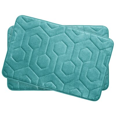 Hexagon Small Plush Memory Foam Bath Mat Color: Turquoise