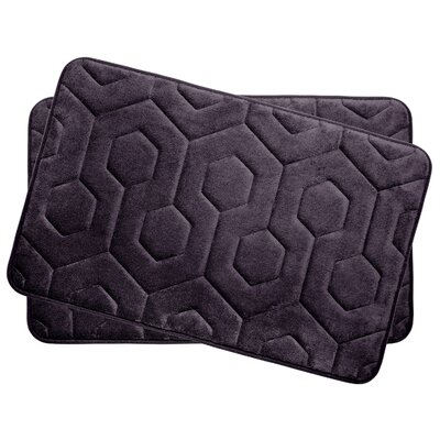 Hexagon Small Plush Memory Foam Bath Mat Color: Plum