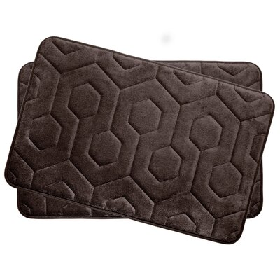 Hexagon Small Plush Memory Foam Bath Mat Color: Espresso