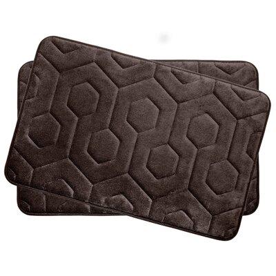 Bath Studio Hexagon Small Plush Memory Foam Bath Mat (Set of 2) - Color: Espresso
