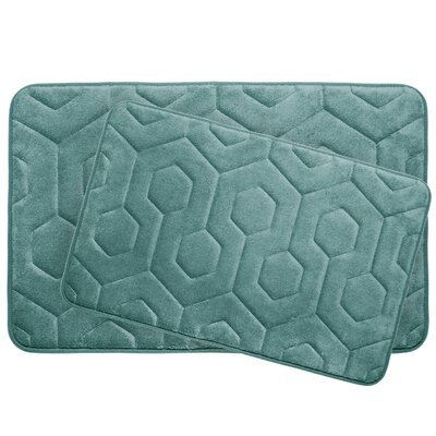 Hexagon 2 Piece Plush Memory Foam Bath Mat Set Color: Marine Blue