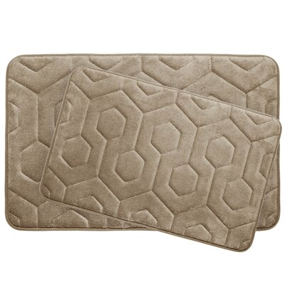 Hexagon 2 Piece Plush Memory Foam Bath Mat Set Color: Linen