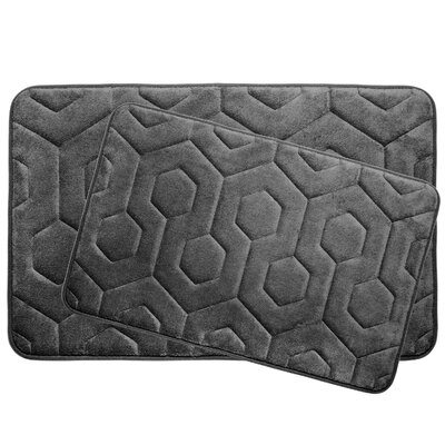 Hexagon 2 Piece Plush Memory Foam Bath Mat Set Color: Dark Grey